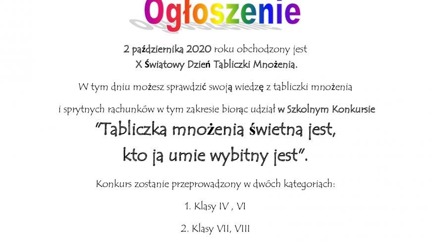 """SZKOLNY KONKURS """"TABLICZKA MNOŻENIA ŚWIETNA JEST, KTO JĄ UMIE WYBITNY JEST"""" -SZKOŁA PODSTAWOWA W  WĘSIORACH"""