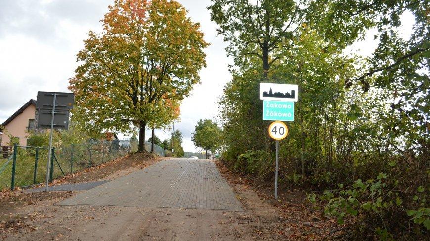 """Zakończono inwestycję pn. """"Przebudowa drogi gminnej nr 166005G wraz z niezbędnymi urządzeniami infrastruktury technicznej w miejscowości Żakowo"""""""