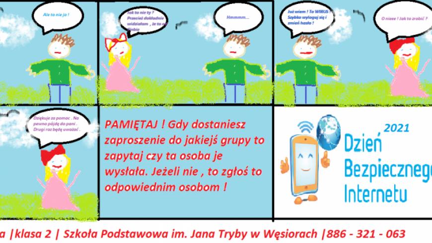 Wyniki Gminnego Konkursu DBI 2021 dla klas I-III. Organizator konkursu Szkoła Podstawowa im. Jana Tryby w Węsiorach.
